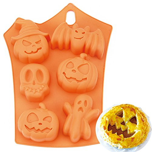 FantasyDay® 2 Pack Halloween Pumpkin Witch Ghost Silicone Mould Candy Mold Ice Tray for Holiday Chocolate  Muffin Cups  Wafer  Cake Toppers  Bath Bombs  Soaps Cookie and More