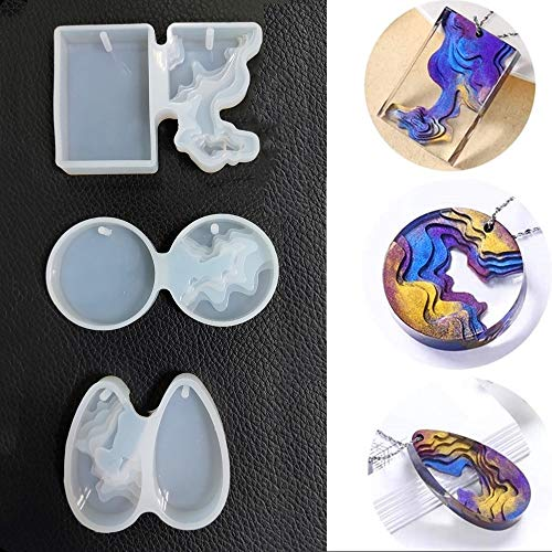 Island Casting Resin Molds Ocean Themed Silicone Epoxy Mould for Jewellery Making Pendant Molds with Holes DIY Handmade Crafts Decoration Pack of 3