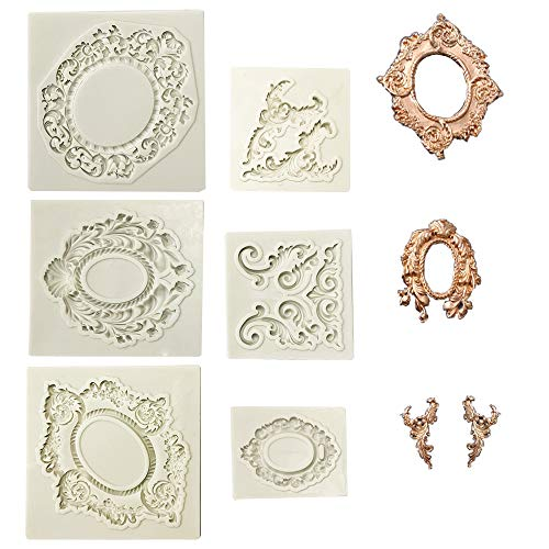 Juland 6 PCS Silicone Cake Mould Silicone Fondant Cake Mould Baroque Art Retro Photo Frame Mould for Sugarcraft  Cake Border Decoration  Cupcake Topper  Jewellery  Fimo  Craft Projects - Grey