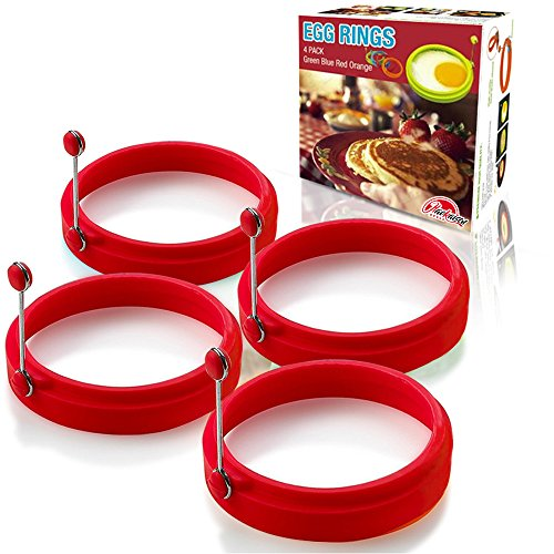 Egg Rings Silicone Non Stick Round Cooking Pancake Mould(4 Red)