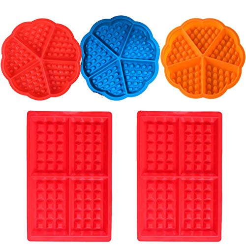 Oven Waffle Mould Silicone Heart Round Square Tangger Silicone Baking Round BPA Free Square Waffles Mould Muffin Pans Baking Molds Red Orange Blue 5 PCS