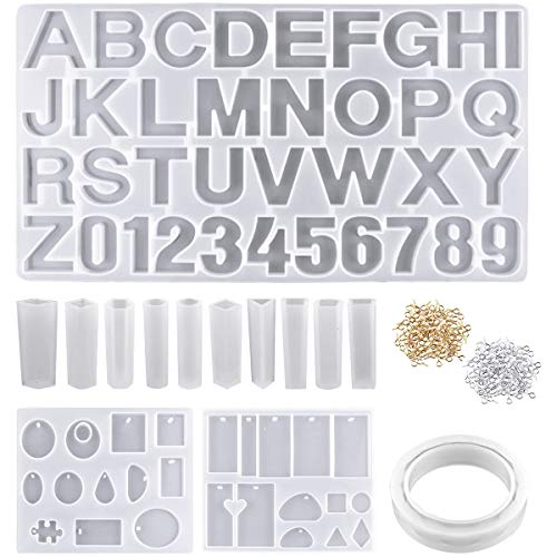 NATUCE 272PCS Silicone Letter Moulds Number Epoxy Resin Mould  Silicone Resin Moulds for Bracelet Jewellery Making Jewelry Pendant Moulds  Jewelry Casting Molds  Resin DIY Craft Stencils for Key Chain