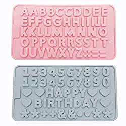 2 Pcs Silicone Letters Numbers Mold  Happy Birthday Symbols Alphabet Chocolate Mould  Cake Pan Candy Biscuit Decorating Tray