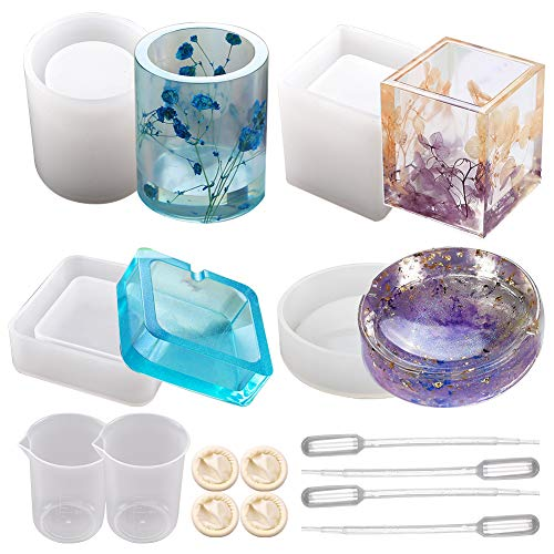 SUNNYCLUE 26pcs Silicone Resin Kits Jewelry Casting Moulds Tools for Epoxy Resin Jewelry Making Ashtray and Pen Holder Home Decoration Mould DIY Crafts