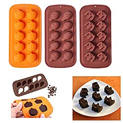 Halloween Chocolate Mould Silicone Fondant Moulds Skull Bat Pumpkin Ice Cube Tray Candy Cookies Soap Dessert Baking Mold for Cake Decorating Cupcake Decor Sugarcraft DIY Pack of 3