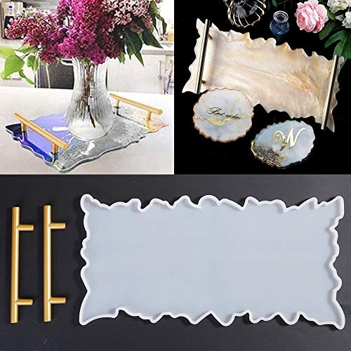 Wave Agate Tray Resin Mould Silicone Irregular Rectangle Coaster Epoxy Casting Mould Table Mat Coaster Artist Mould with 2X Metal Frame for Home Decoration DIY Craft