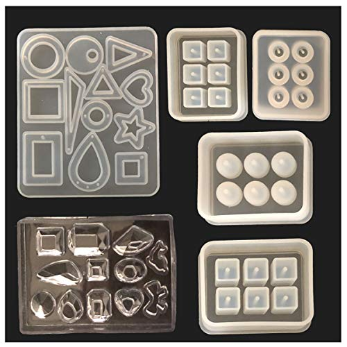 Tangger 6 PCS Jewelry Mould Silicone Pendant Mould for Resin DIY Silicone Mold Square Moulds Silicone Spherical Mold for Handmade Jewelry Making