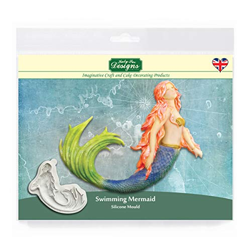 Katy Sue Designs CF0019 Swimming Mermaid Silicone Mould for Cake Decorating  Crafts  Cupcakes  Sugarcraft  Cookies  Candies  Cards and Clay  Food Safe Approved  Made in The UK