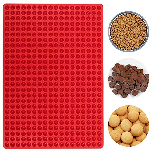 webake Silicone Baking Mat 1.2 cm Hemisphere Baking Mould with Nubs Non Stick Dog Food Mold for Dog Biscuits  Dog Treats  Chocolate Mould  Puppy Cookies (40 x 27.7cm  468 Cavities)