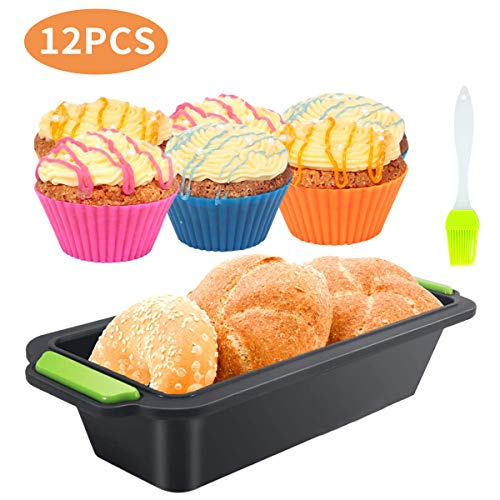 Silicone Loaf Tins Set  Nonstick Toast Bread Mold  12 in 1 Silicone Non Stick Baking Tray Bakeware  Easy Release Baking Mould for Homemade Cakes  Breads  Pancakes(11.5 Inch)