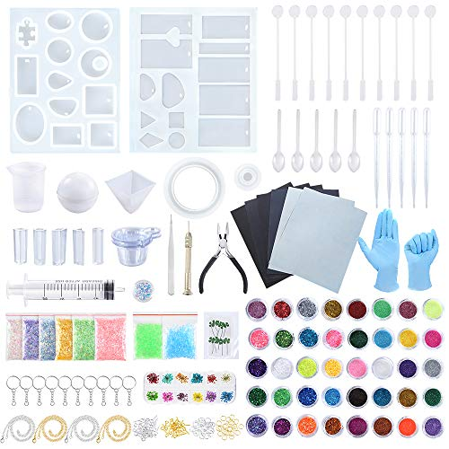 Sntieecr 223 Pieces Resin Silicone Casting Moulds Full Kit with Resin Mould  Sandpaper  Fine Glitter  Glitters Sequins Powder  Dry Flower and Tools Set for Jewelry Making  DIY Art & Craft