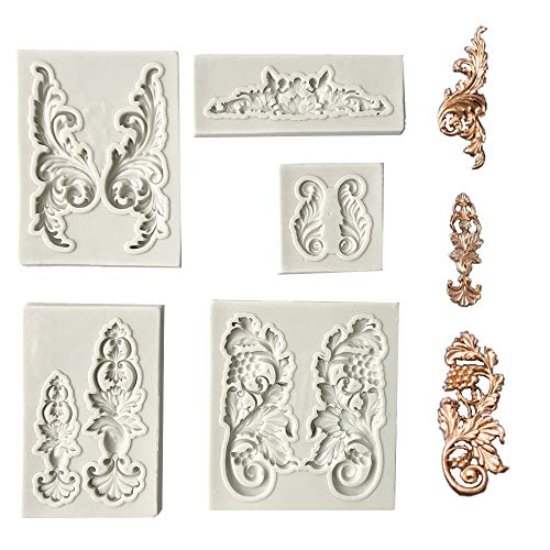 Juland 5 PCS Silicone Cake Mould Silicone Fondant Cake Mould Baroque Style Curlicues Scroll Mold for Sugarcraft  Cake Border Decoration  Cupcake Topper  Jewelry  Fimo  Craft Projects - Grey