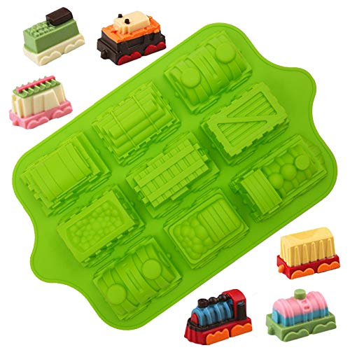 KeepingcooX® 3D Cartoon Train Mould Liners | Food-grade Mini Silicone Baking Mold Tray | Special Cute Non-Stick Muffin Tin For Kids Birthday Party/Chocolate Soap  Extra Thick  39 x 24 x 5 cm  9 Cavity