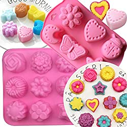 18 Cavity Silicone Flower Soap Mold BESLIME Cake Bread Mold Chocolate Jelly Candy Baking Mould Muffin Pan 2 Pack