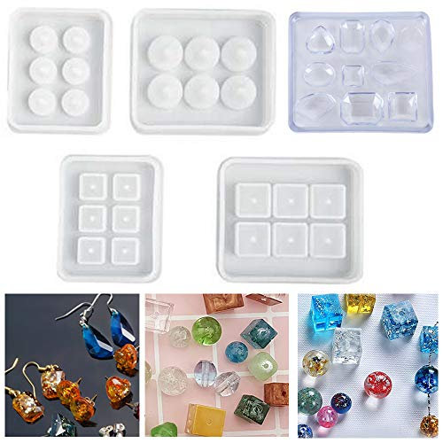 Lezed Resin Casting Mold Kit Silicone Beads Pendant Mold Silicone Mold Making Jewelry Pendant Mould Craft DIY Set Jewelry Casting Molds Silicone Pendant Molds for DIY Jewelry Craft Making