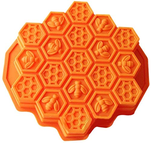 MEETOZ Cake Mold Honeycomb Mould Bee Soap Molds Silicone Molds Flexible Candy Chocolate 19 Cavities Dessert Baking (Orange)