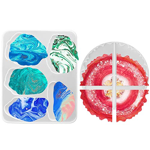 Lhedon Resin Coaster Mould 9 Pack Silicone Agate Coaster Epoxy Moulds Large Size Flexible Irregular Resin Molds for Making Coasters Cups Mats Bowl Mat and Home Decoration