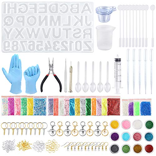 Sntieecr 320 Pieces Alphabet Resin Silicone Casting Moulds Kits with Letter Number Resin Mould  Glitter Powder  Epoxy Tools and Metal Accessories for DIY Keychains and Craft Making