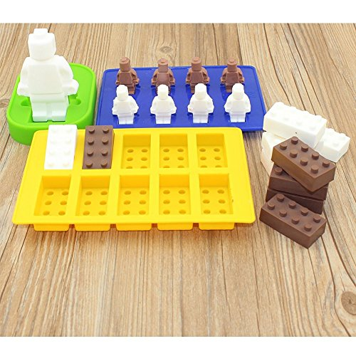 Ice Cube Tray BPA Free Silicone Moulds, 7 Piece Set in Robot Brick Character Shapes, Ideal for Chocolate, Ice Cubes, Sweets, Christmas Baking, Soap & Candle Making