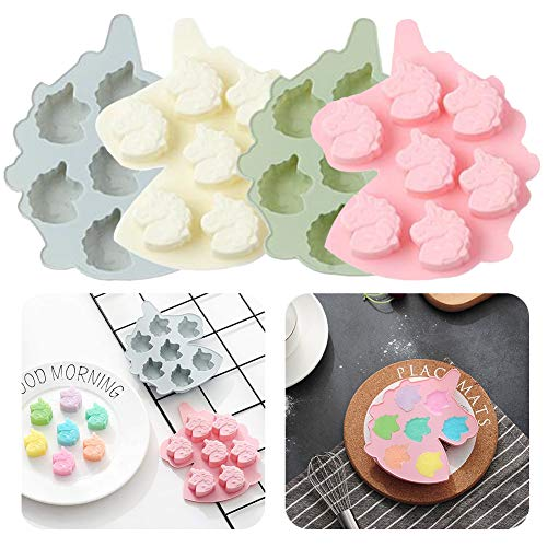Unicorn Mould - WENTS 4 PCS Unicorn Ice Cube Tray Silicone Fondant Mould Cake Decorating Chocolate Cookies Candy Jelly Soap Baking Mold Soap Mould
