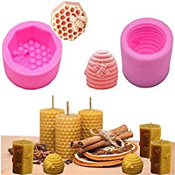 3D Bee Honeycomb Candle Soap Moulds Mould Silicone Fondant Mould Homemade Beeswax Candle  Soap  Chocolate  Candy  Cake Decorating Baking Mould for Birthday Wedding Halloween Xmas Gift DIY Pack of 2