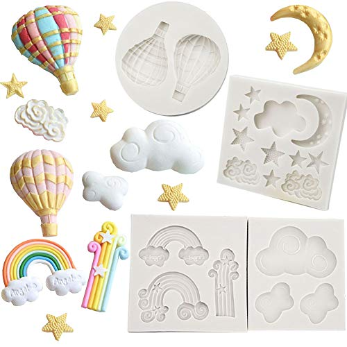Moon Star Cloud Silicone Fondant Mould Balloon Rainbow Mold Sugar Paste Cake Cupcake Design Mat Silicone Mould for Cake Decorating Cupcakes Sugarcraft Candies  4 Pack