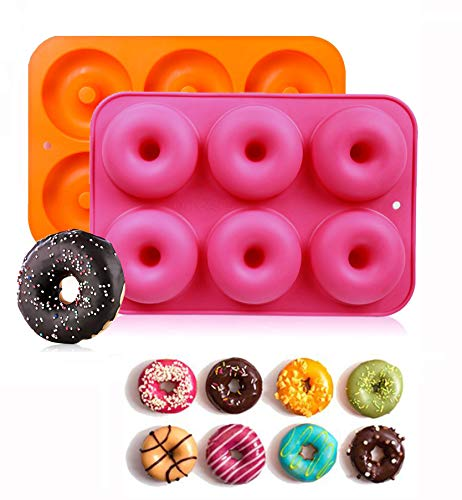 Xndryan Silicone Donut Mould  Non-Stick Doughnut Mold Baking Pan Safe Baking Tray Maker For DIY Candy Biscuit Bagels Muffins Cake Donut  Pack of 2