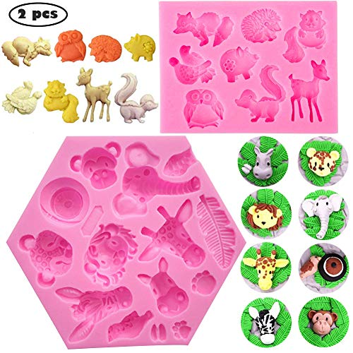 SUNSK Silicone Fondant Cake Moulds 3D Forest Animals Mould DIY Soap Jelly Ice Cake Chocolate Sweet Moulds Silicone Baking Molds Decorating Tools 2 Pieces