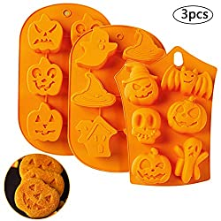 Halloween Silicone Mould BESTZY 3PCS Silicone Chocolate Mould Pumpkin Witch Ghost Soap Mold Cake Baking Moulds DIY Chocolate Pastry Cake Muffin Ice Cube Soap Biscuit