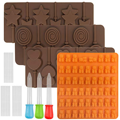 FineGood 4 PCS Lollipop Chocolate Mould  Gummy Bear Canday Mold Silicone Ice Cube Trays Sweet Gumdrop Baking Mould with 3 Droppers