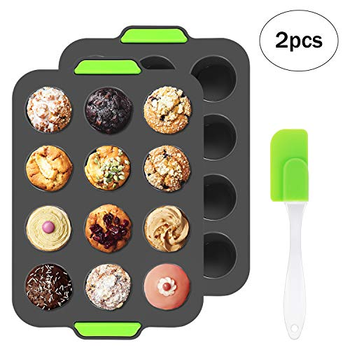 Silicone Muffin Trays for 12 Cup Muffins Pan  Non-Stick Cupcake Tin Baking Mould for Cupcakes  Brownies  Muffins  Pudding  Bakeware