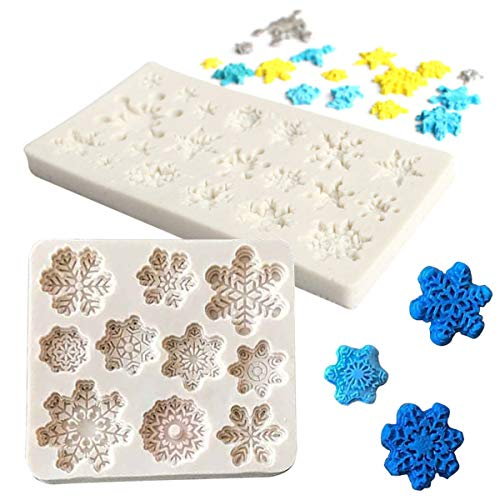 TheStriven 2 Pieces Silicone Snowflake Molds 3D Silicone Snowflake Cake Mold Christmas Snowflake Muffin Cup Soap Mould Biscuit Chocolate Ice Fondant Baking Tool for Kitchen Baking Decoration