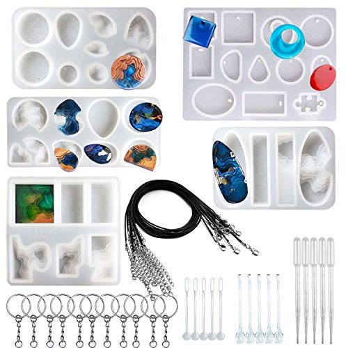 Woohome 40 PCS Island Silicone Mould Jewelry Resin Molds  5 PCS Resin Casting Molds Jewelry Making Kit for Pendants  Necklace  Earrings  Jewelry Crafts Decoration Making