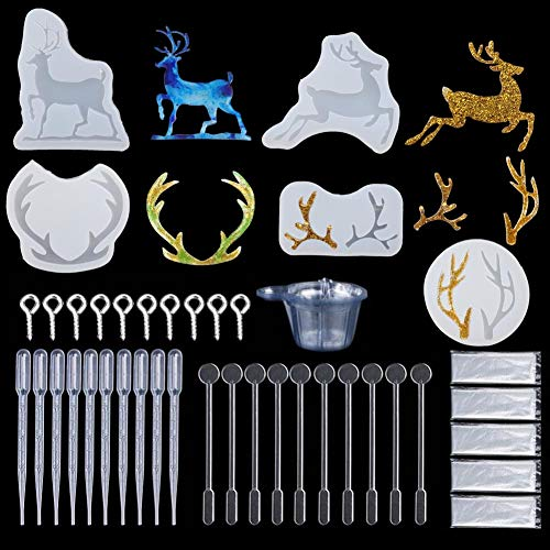 Silicone Resin Mould Kits 145 Pieces DIY Christmas Reindeer Shape Making Resin Casting Mould Set for Pendant Buckle Jewelry Craft Making