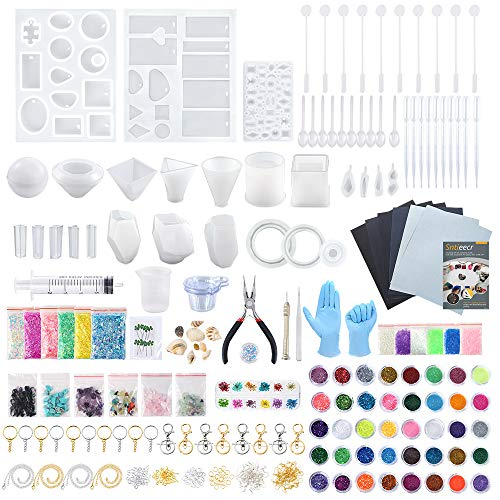 Sntieecr 460 Pieces Epoxy Resin Silicone Casting Moulds Full Kits with 26 PCS Silicone Resin Mould  Sandpapers  Glitter Powder  Dry Flowers  Keychains and Tools Set for Resin Jewelry and Craft