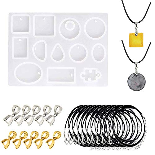 Woohome 12 Cavity Jewellery Silicone Mould Casting Mold Resin Shape Geometric Pendant Casting Resin Shapes with Holes  Black Wax Rope and Pendant Buckle for Jewellery Making