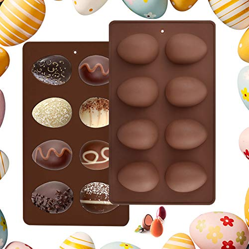 EMAGEREN 2Pcs Easter Eggs Silicone Mold 8-Cavity Egg Shape Cake Mould Non Stick Chocolate Mould Baking Mold Silicone Half Egg Mold for Easter Eggs  Chocolate  Cake  Jelly  Dome Mousse Making