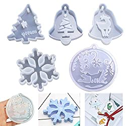 Christmas Resin Moulds Pendant Jewelry Making Silicone Mould Crystal Epoxy Casting Mold Xmas Tree Snowflake Elk Wolf Molds for Xmas Tree Ornament Decoration Gift DIY Gift Pack of 5