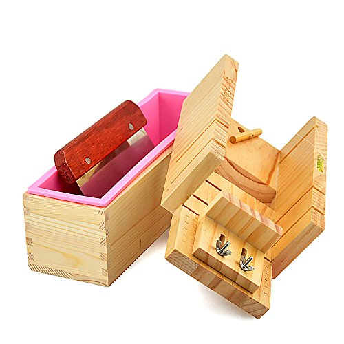 MKNZONE Practical Adjustable Handmade Wood Soap Cutter Box Wire Cutter Slicer With Soap Beveler Planer Set + 1.2L Rectangle Loaf Toast Bread Pastry Cake Soap Silicone Mould + Straight Soap Cutter