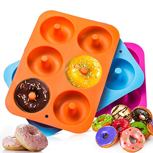 Dulabei 3 pieces silicone donut mould doughnut baking mould leaf container makes perfect 3-inch doughnuts.