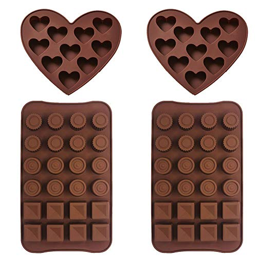 Silicone Chocolate Molds - WENTS 4PCS Candy and Chocolate Molds Heart Shape Ice Cube Mold Round Square Blocks Tray Candy Mold Kitchen Baking Mould Baking Jelly Molds Non-Stick