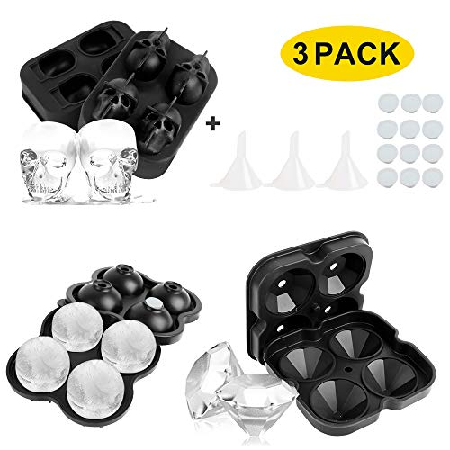 LBLA 3PACK Ice Cube Trays Silicone Ice Cube Mould Ice Ball Maker Diamond Skull Shape Cube Maker with Removable Lids  Funnel and Non-Spill Lid for Freezer Whiskey Cocktail