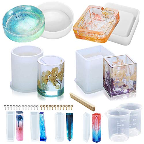 YAOYIN Resin Moulds  8 Pack Epoxy Resin Mold  Including Round  Square  Cylindrical  Pendant Resin Mould Silicone for DIY Flower Pot/Pen/Pendant