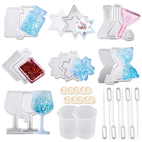 SUNNYCLUE 34Pcs Resin Shaker Mould Jewelry set with Epoxy Silicone Molds Star Hourglass Flower Wine Glass & Transfer Pipettes & Latex Finger Cots for DIY Resin Making