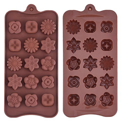 Silicone Chocolate Molds Flowers Shape Cake Candy Mould Jelly Ice Tray for Handmade DIY  Coffee  2 Pack