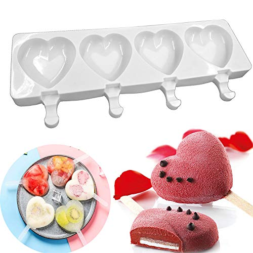 Silicone Ice Cream Mould Love Heart Shaped Pop Ice Lolly Mold Maker Frozen Chocolate Dessert Popsicle Tray Home Kitchen Tools Pan + 10pcs Wooden Sticks