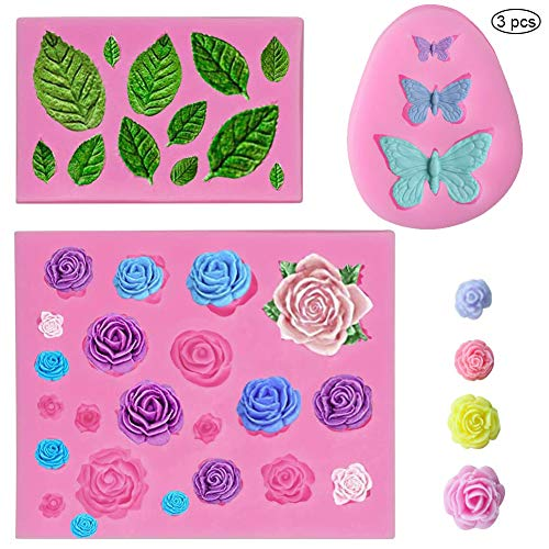 SUNSK Silicone Fondant Cake Moulds 3D Rose Flowers Leaf Molds Butterfly Mould DIY Soap Jelly Ice Cake Chocolate Sweet Moulds Silicone Baking Molds Decorating Tools 3 Pieces
