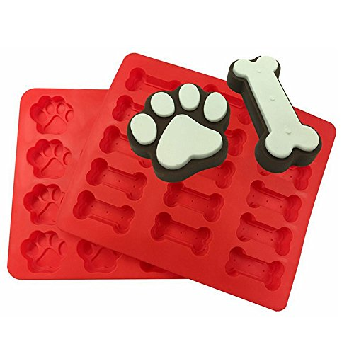 LYXY 15 Hole Mini Dog Bone 14 Hole Mini Dog Footprints Silicone Two sets together Cookies Dessert Mold Tray Collapsible DIY Cake Mould Baking Pan