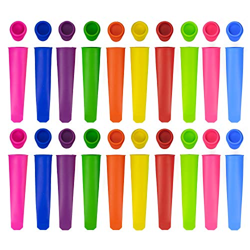 Tebery 20 Pack Silicone Popsicle Mold -Ice Pop Mould  Ice Lolly Molds with Lids  Silicone Ice Pop Maker Mold Set for Popsicles or Reusable(Colorful)