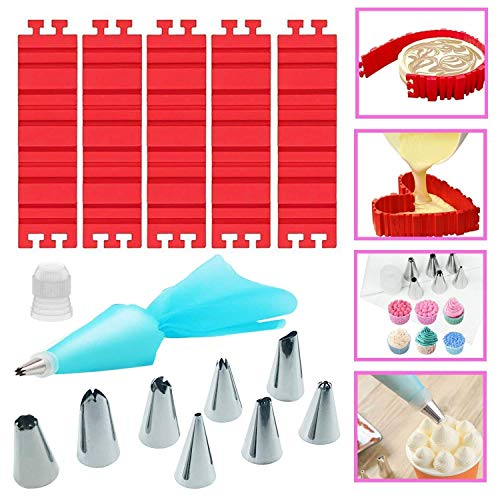 Woohome 13 PCS Silicone Mold Magic Snake and Cake Decorating Tips Combo for Design Your Cakes Any Shape  Muffin Cups - DIY Baking Mould Tools for Various Dessert